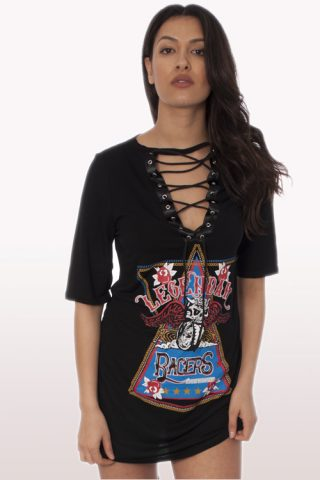 racer print lace up t-shirt dress