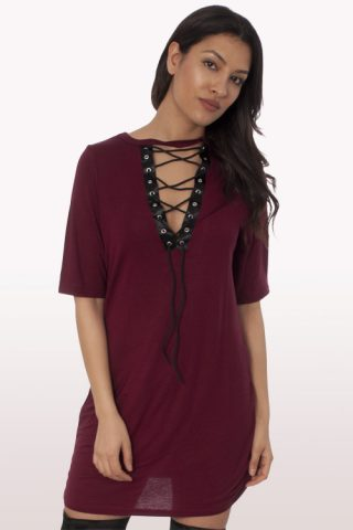 wine lace up t-shirt dress