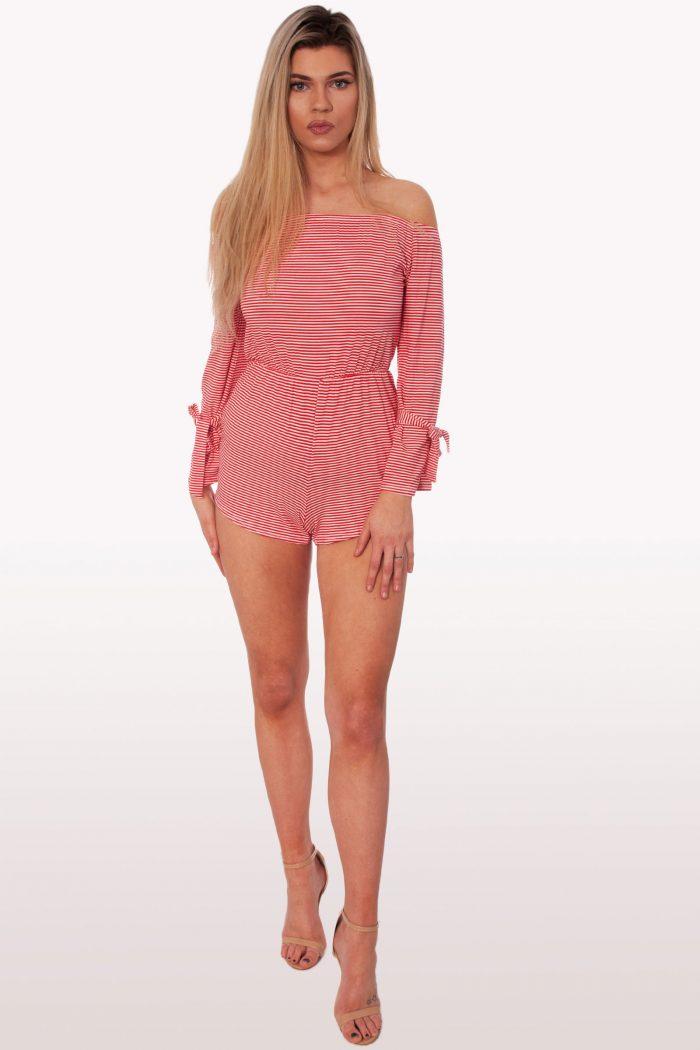 Red Stripe Bardot Playsuit