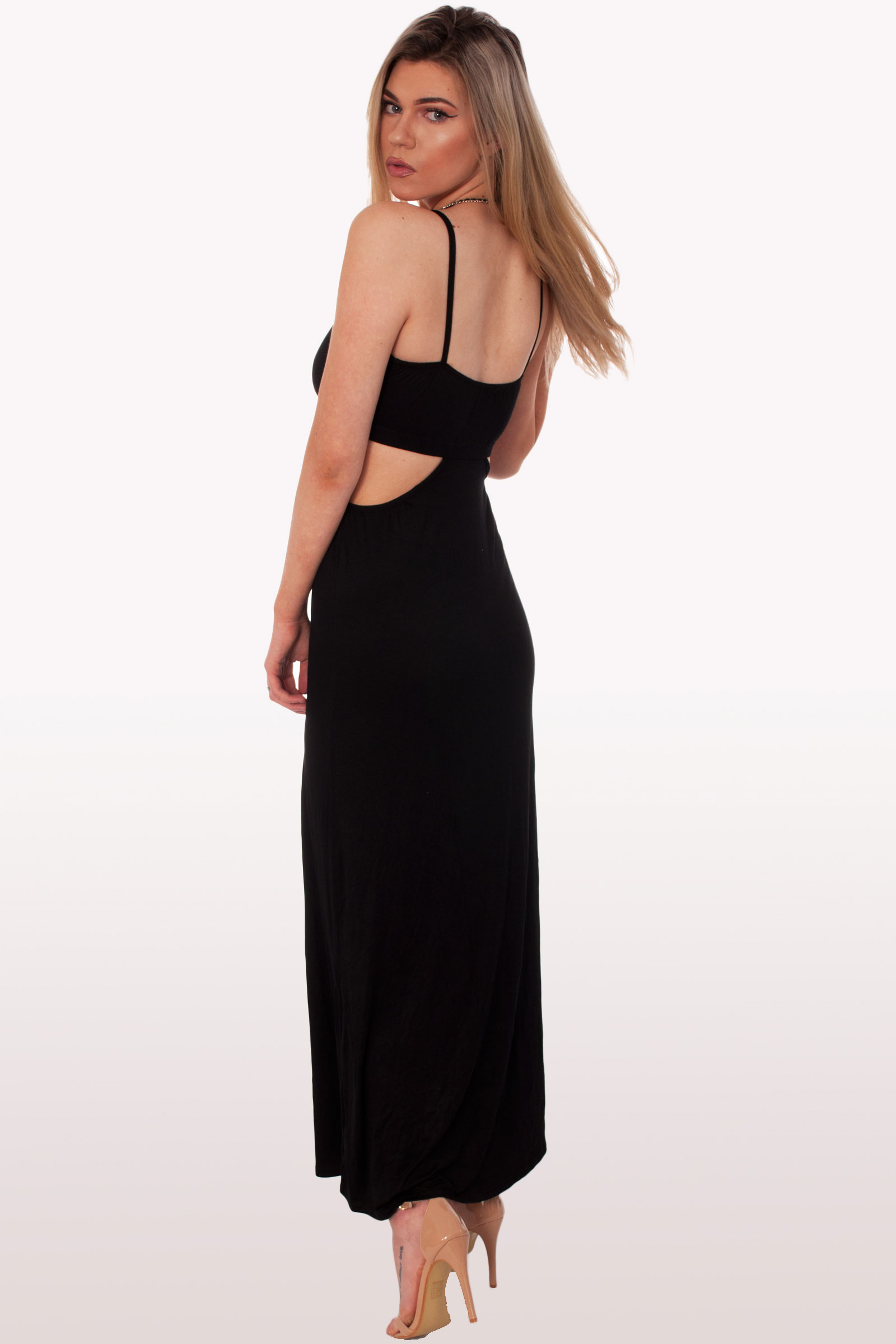 Black Cut Out Maxi Dress Clothing Dresses Modamore