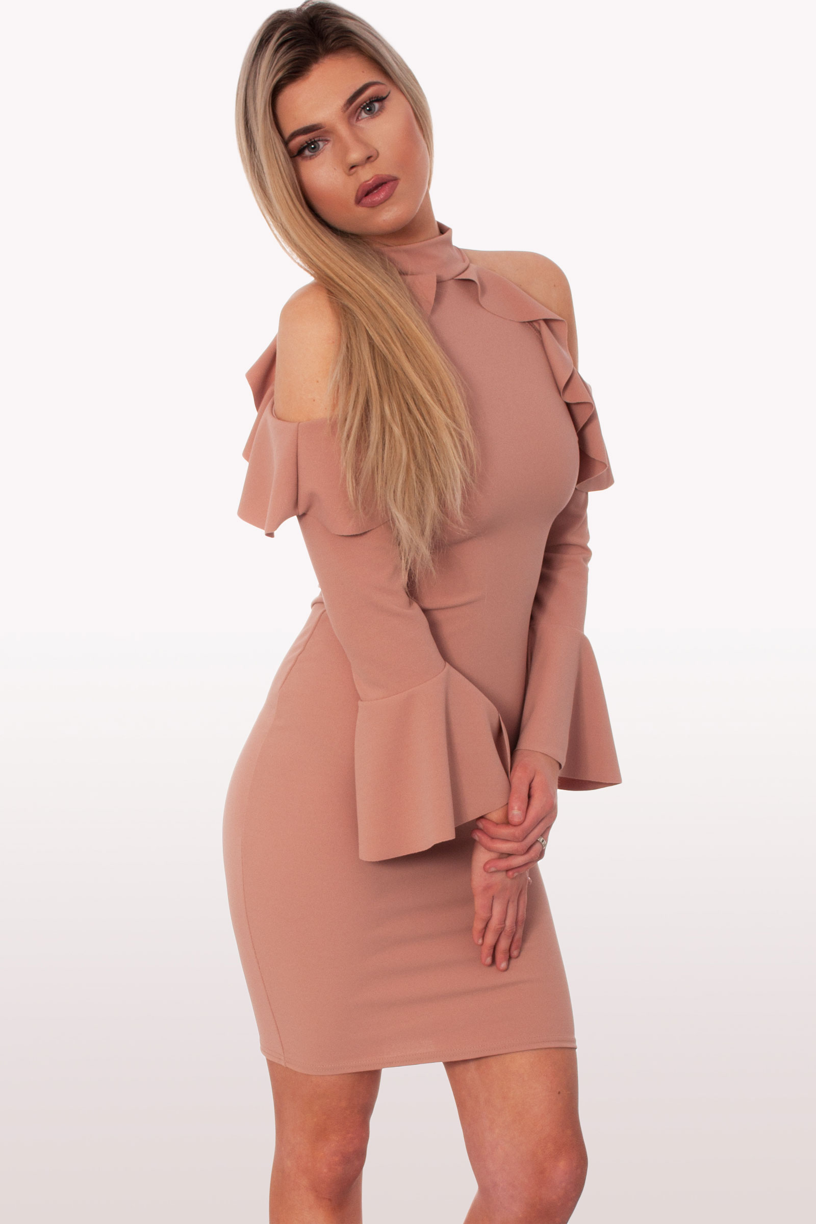 d84b7cbfeb4e Blush Frill Bodycon Dress