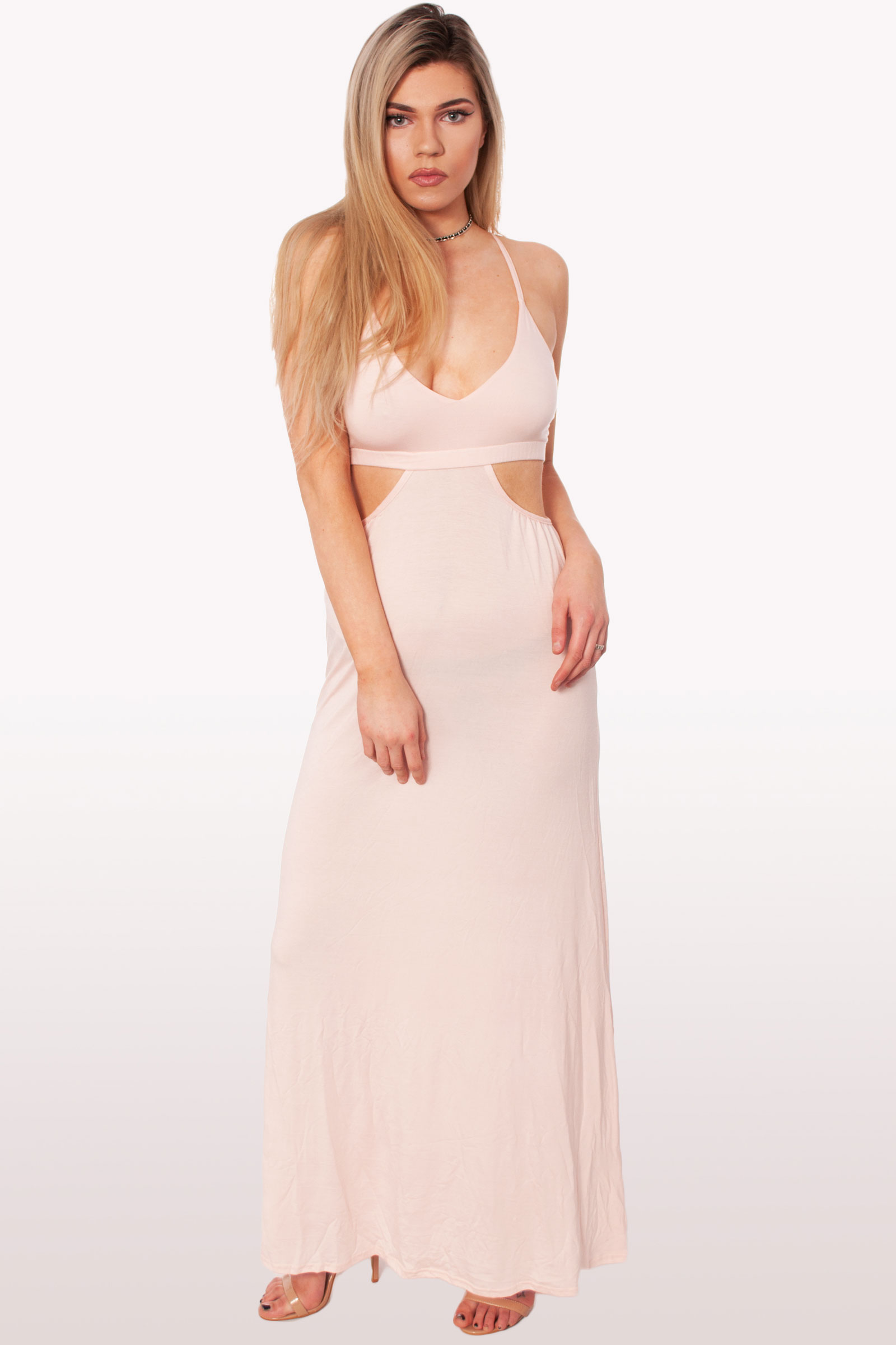 7a931671764 Pale Pink Cut Out Maxi Dress