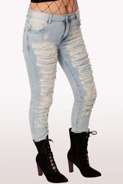 Light Blue Ripped Mom Jeans