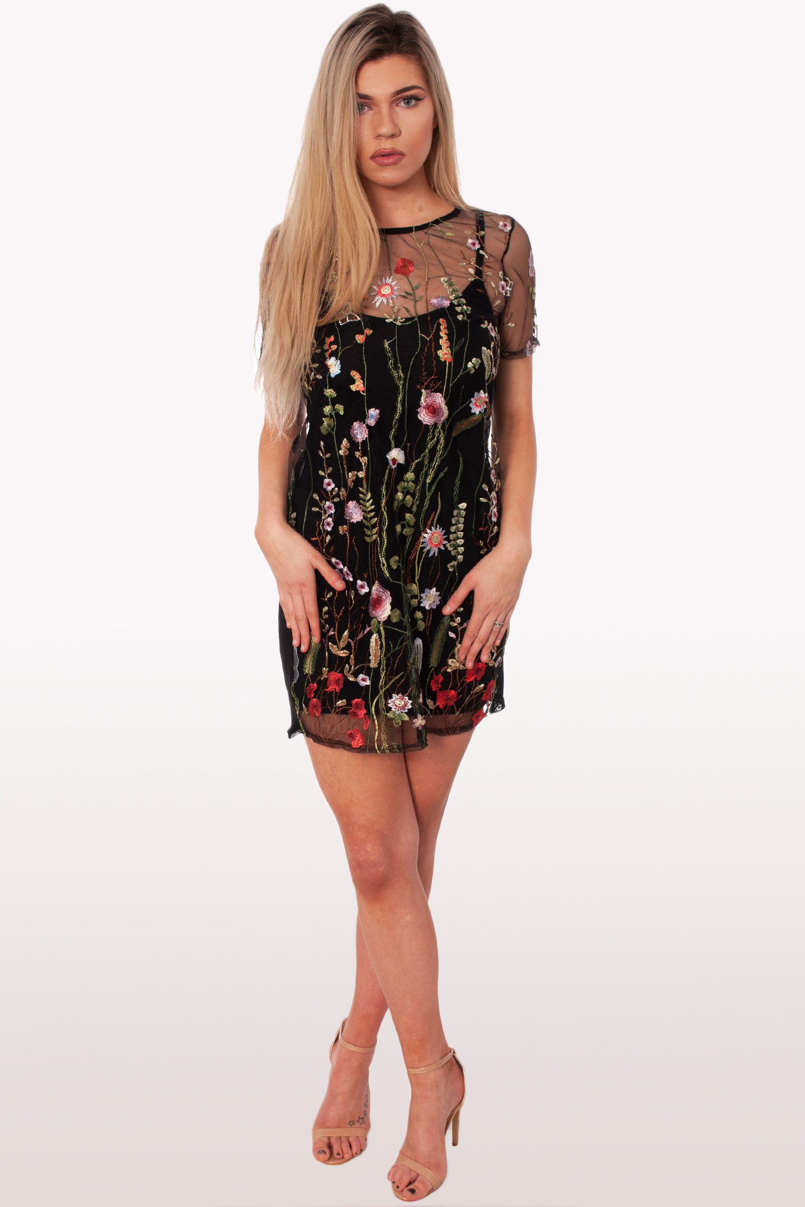 628ee0277a Black Floral T-Shirt Dress