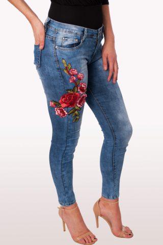 Mid Blue Floral Skinny Denim Jeans