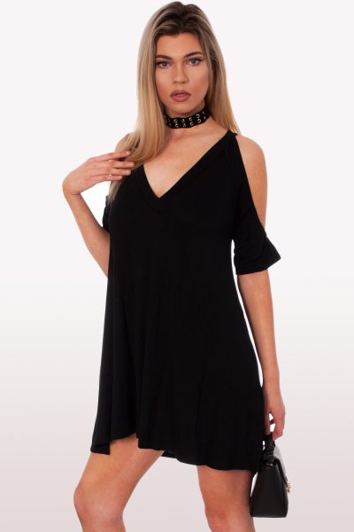 Black Cold Shoulder Oversized Dress