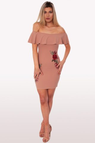 Blush Floral Bardot Dress