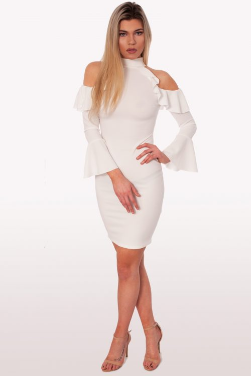 061dd187a3 Dolce White Frill Cold Shoulder Bodycon Dress