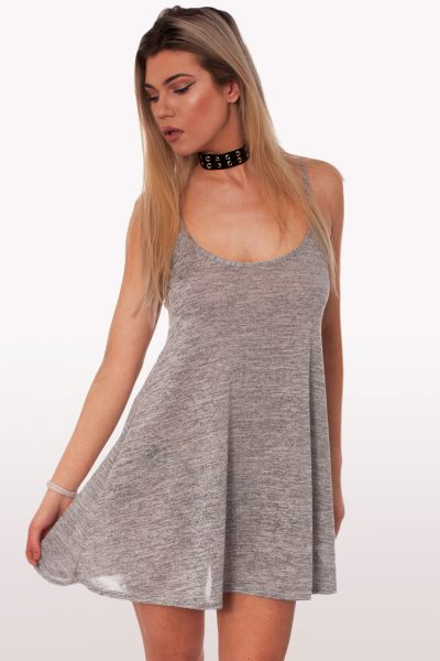 Grey Knit Cami Dress