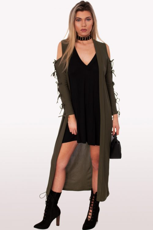 Khaki Lace Up Duster Jacket