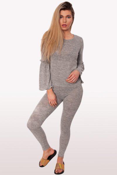 Grey Frill Loungewear Set