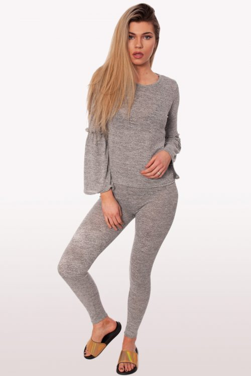 Grey Frill Loungewear Set
