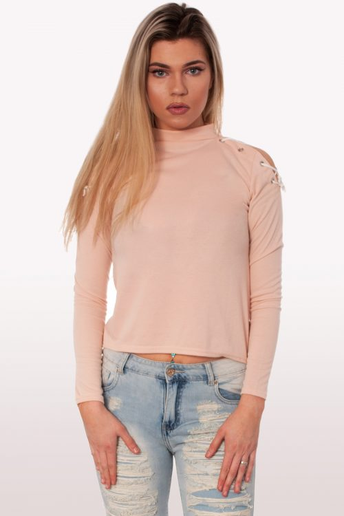 Baby Pink Lace Up Shoulder Top