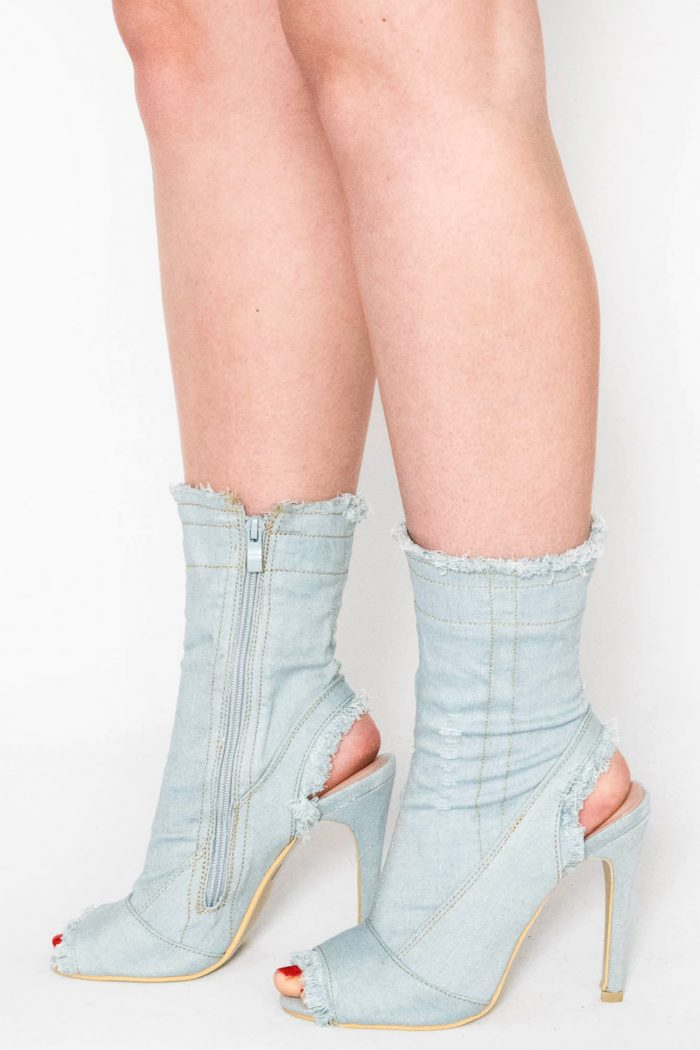 Ailani Light Blue Ripped Denim Cut Out Ankle Boots