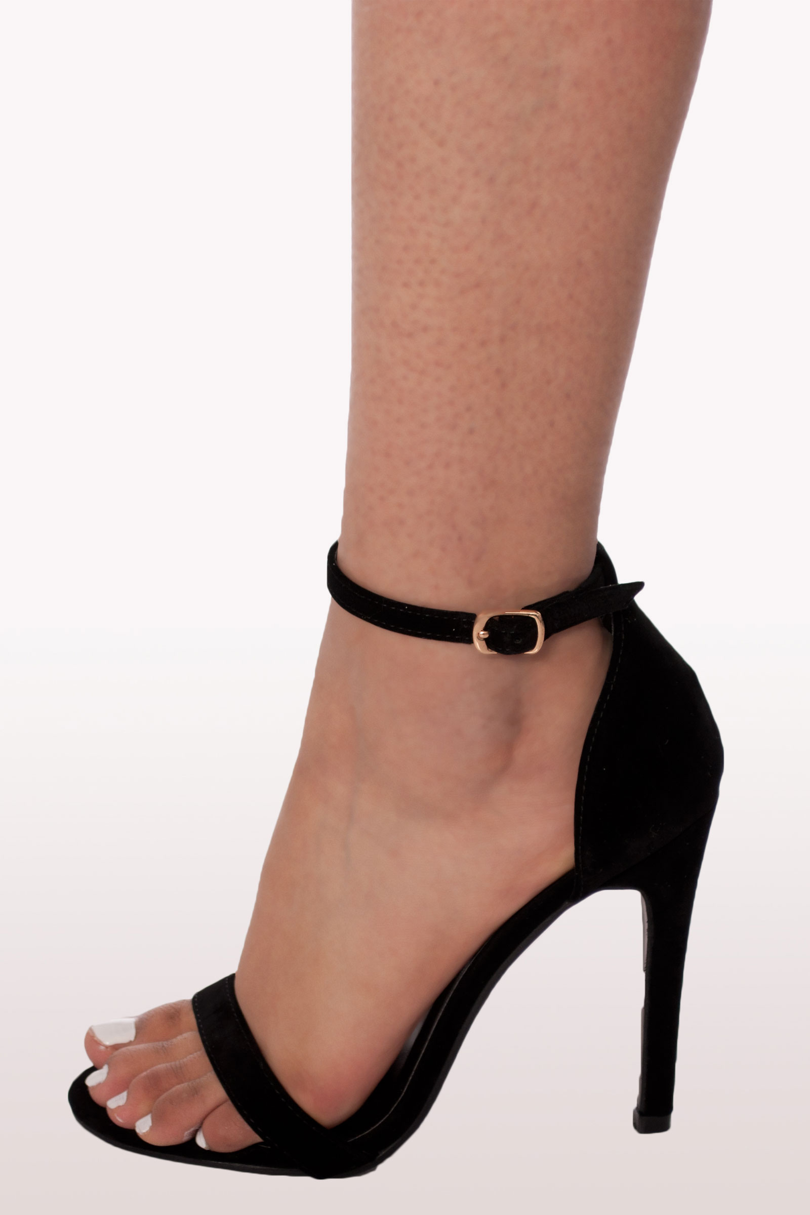 8c69bb23df9b Black Suede Barely There Heels