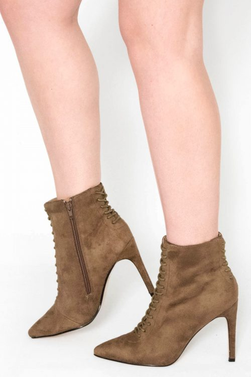 Vara Tan Suede Stiletto Ankle Boots