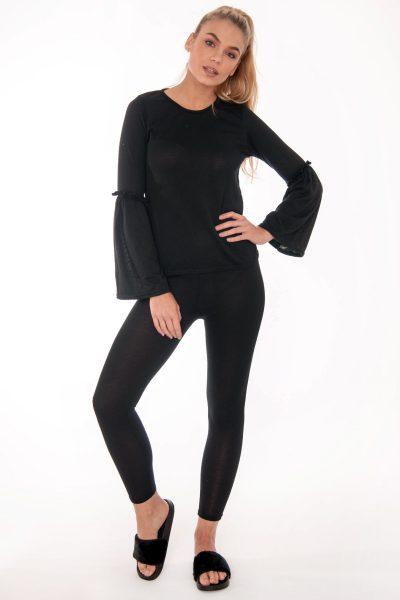Lily Black Frill Loungewear Set