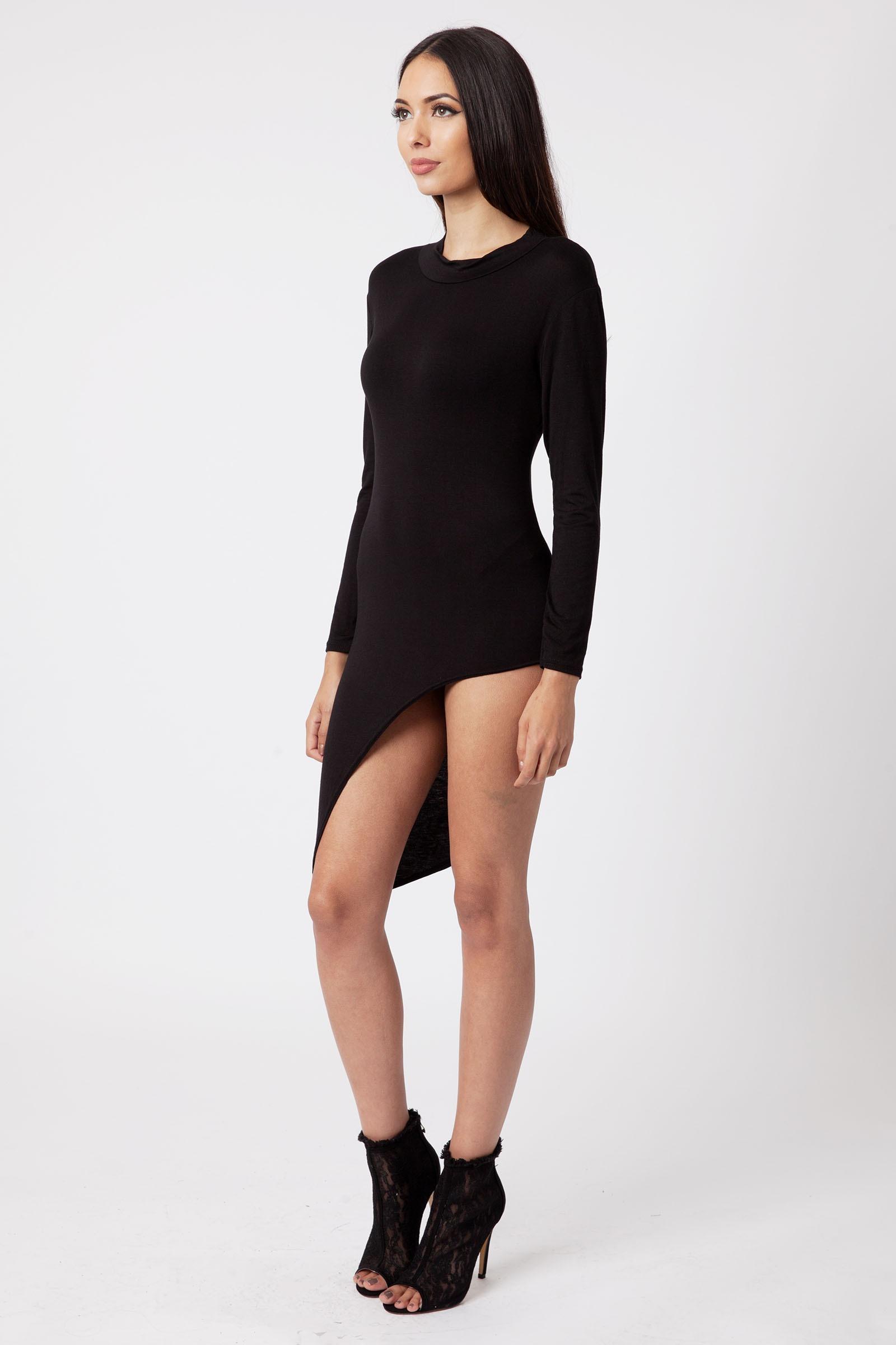 Black long sleeve bodycon dress long length