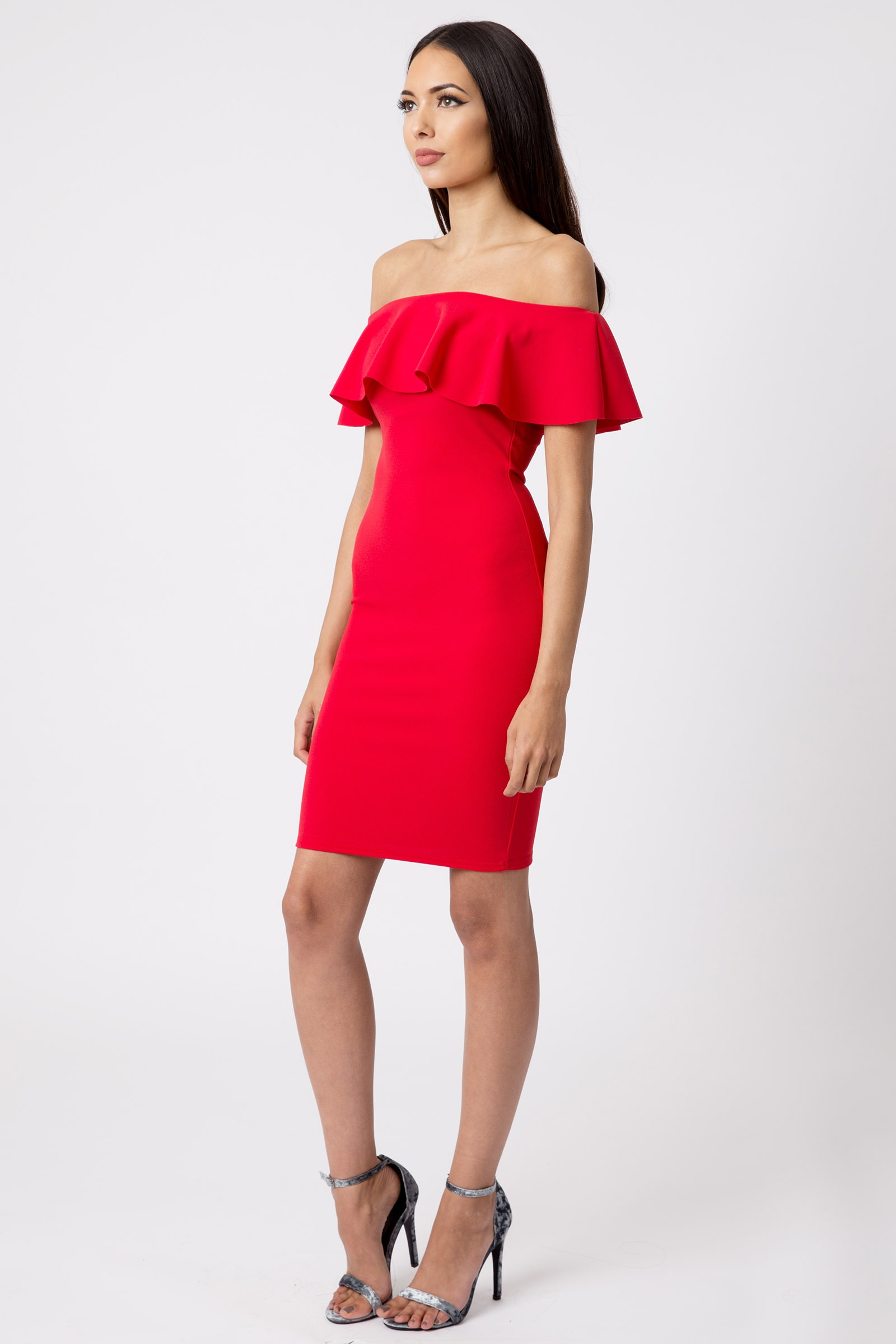 Red Off The Shoulder Bodycon Dress   Dresses   Clothing   Modamore