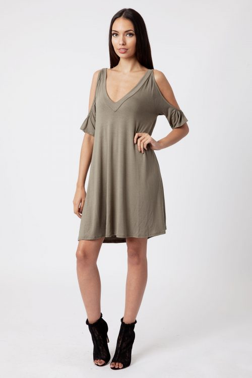 Khaki Cold Shoulder Swing Dress