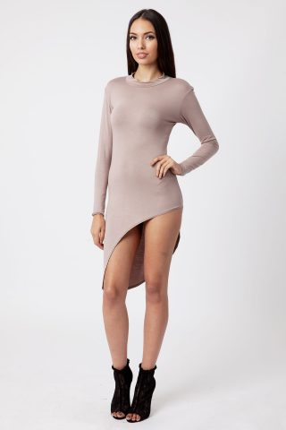 Mocha Asymmetric Long Sleeve Bodycon Dress