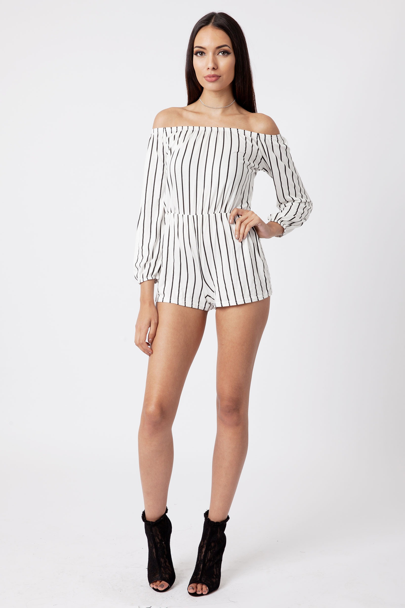 b8d7359e6ca Product Details  White Off The Shoulder Striped Playsuit ...