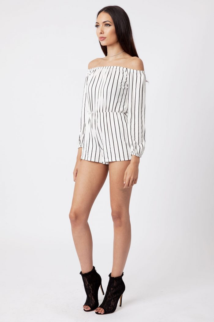 White Off The Shoulder Striped Playsuit
