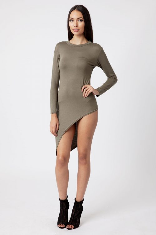 khaki Asymmetric Long Sleeve Bodycon Dress