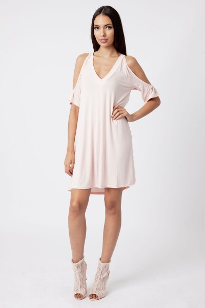 nude cold shoulder swing dress