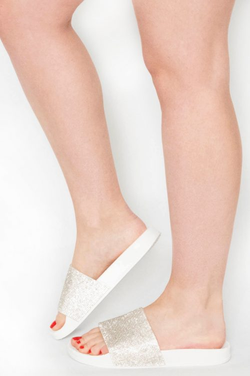 Acacia White Diamante Sliders