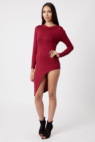 wine Asymmetric Long Sleeve Bodycon Dress