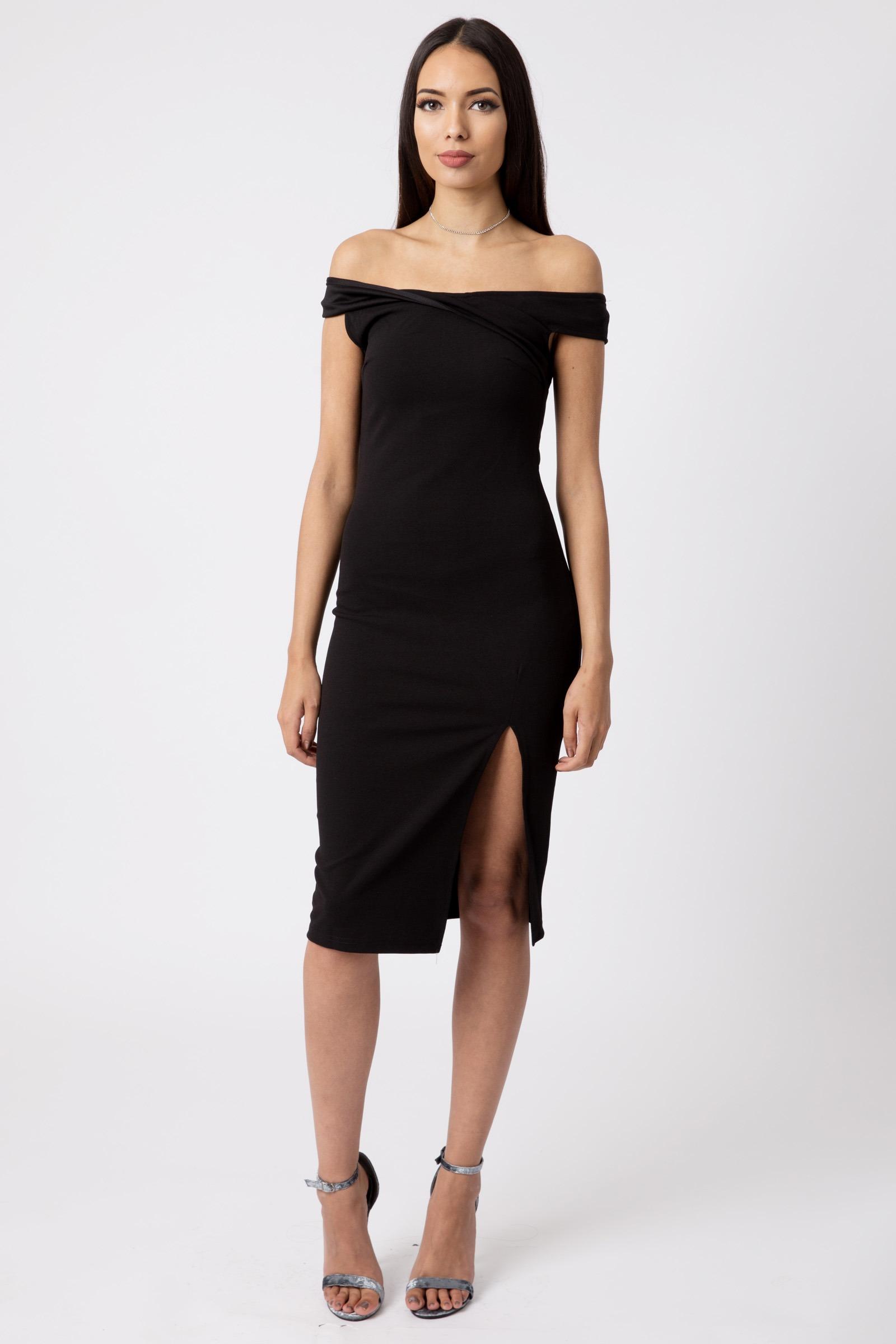 c1c24e66be47 Black Off Shoulder Thigh Split Bodycon Dress