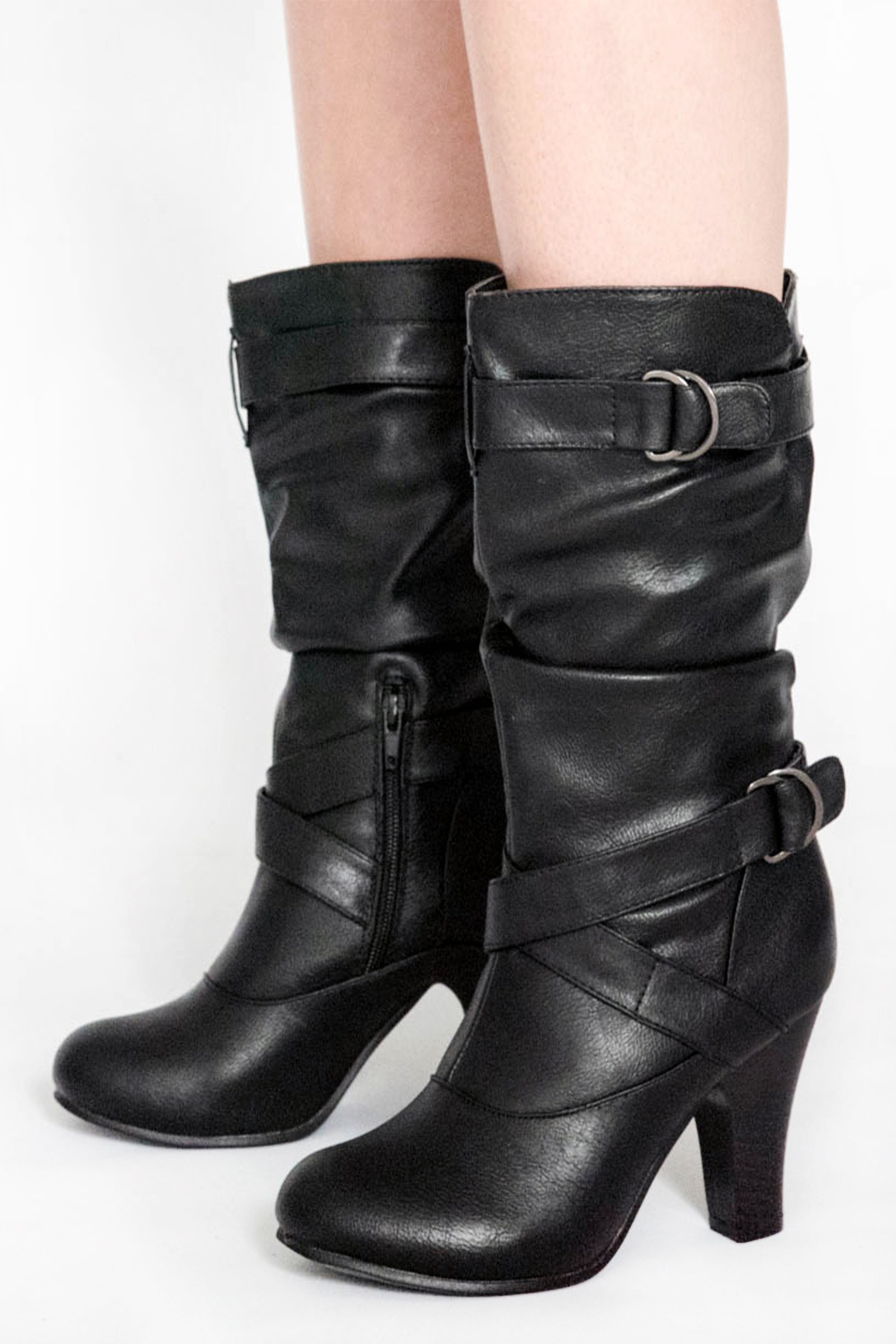 slouch black mid calf boots