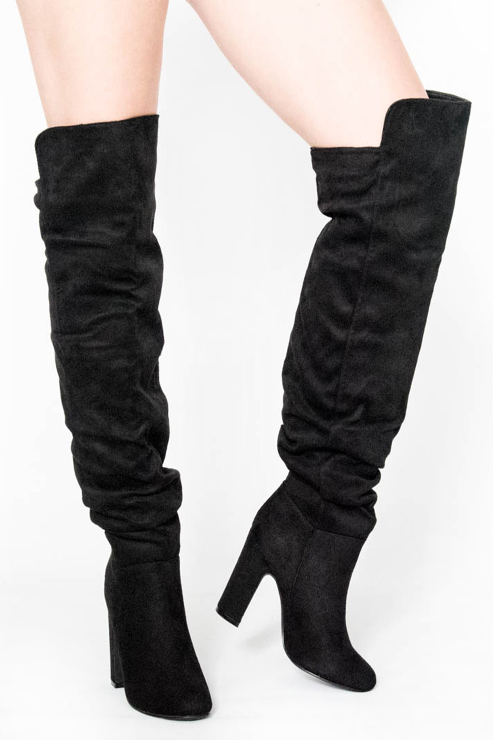 Slouch Black Over The Knee Boots