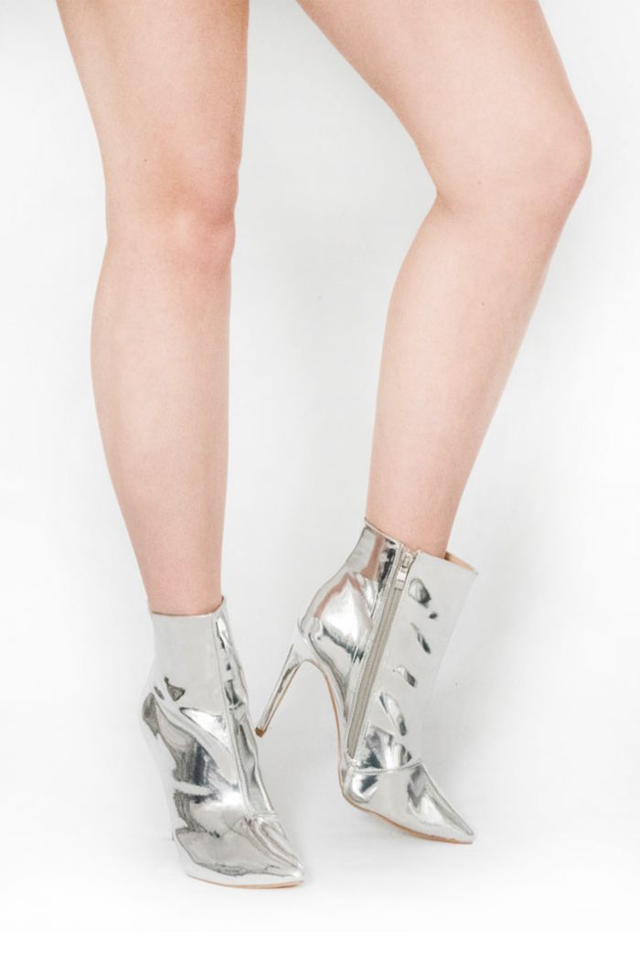Bailey Silver Mirrored Pointed Toe Ankle Boots