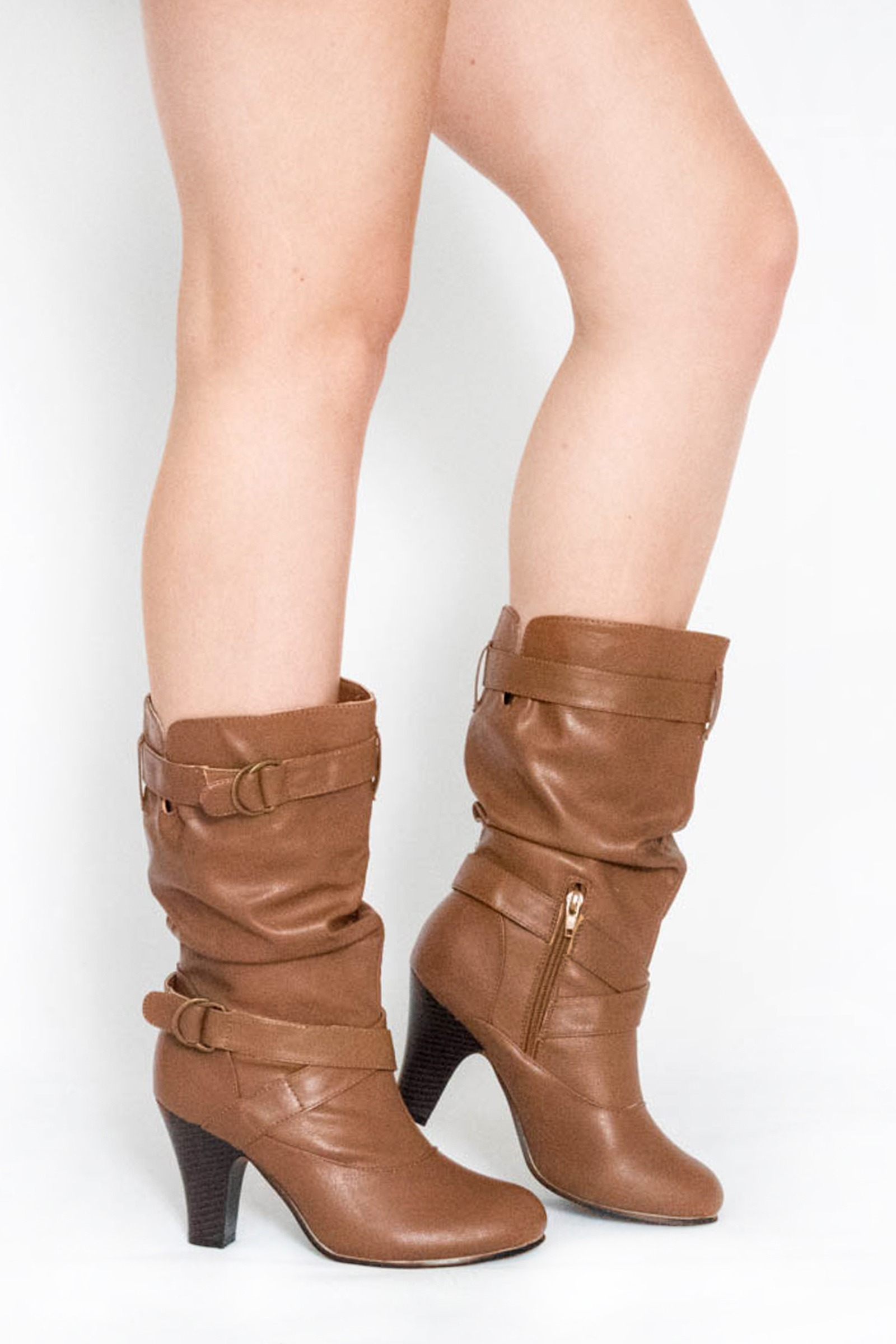 slouch tan mid calf boots