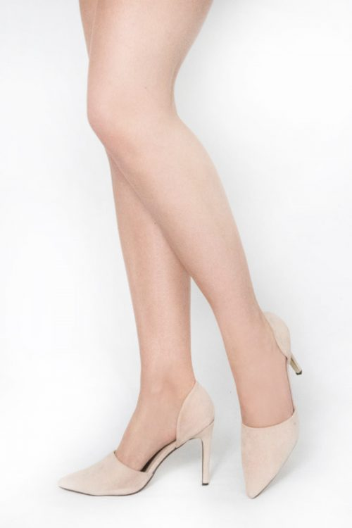 Beige Suede Pointed Toe Heels