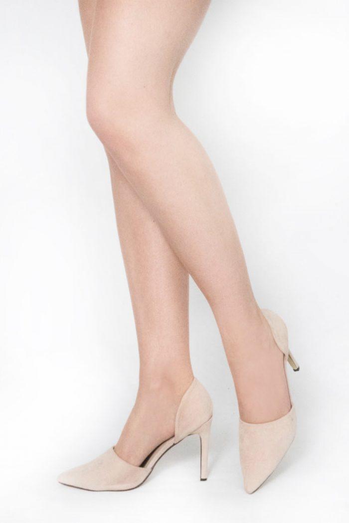 Beige Suede Pointed Toe Heels