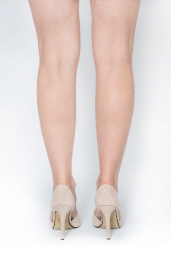 Beige Suedette Pointed Toe Heels