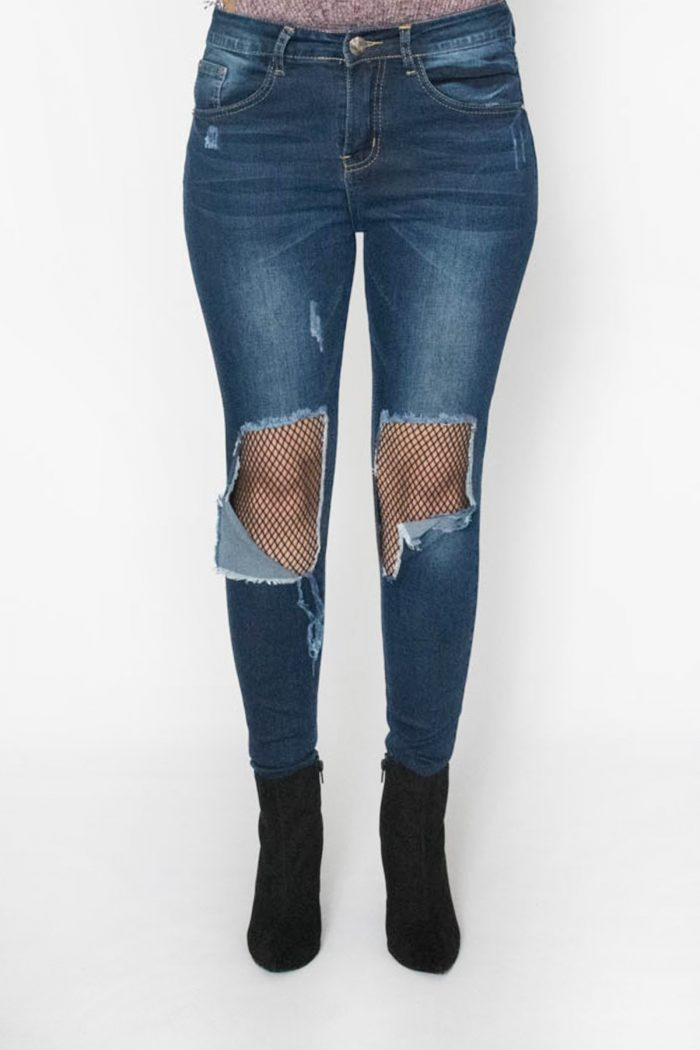 Devon Dark Blue Ripped Knee Fishnet Skinny Jeans
