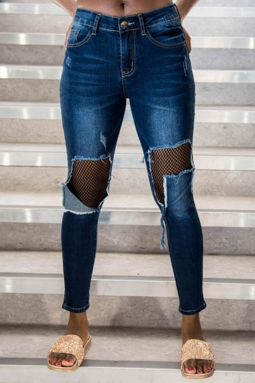 Dark Blue Ripped Knee Fishnet Skinny Jeans