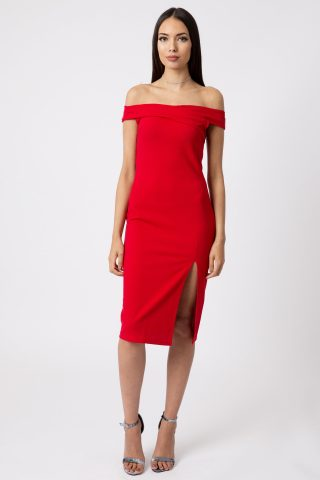 Red Off Shoulder Thigh Split Bodycon Dress