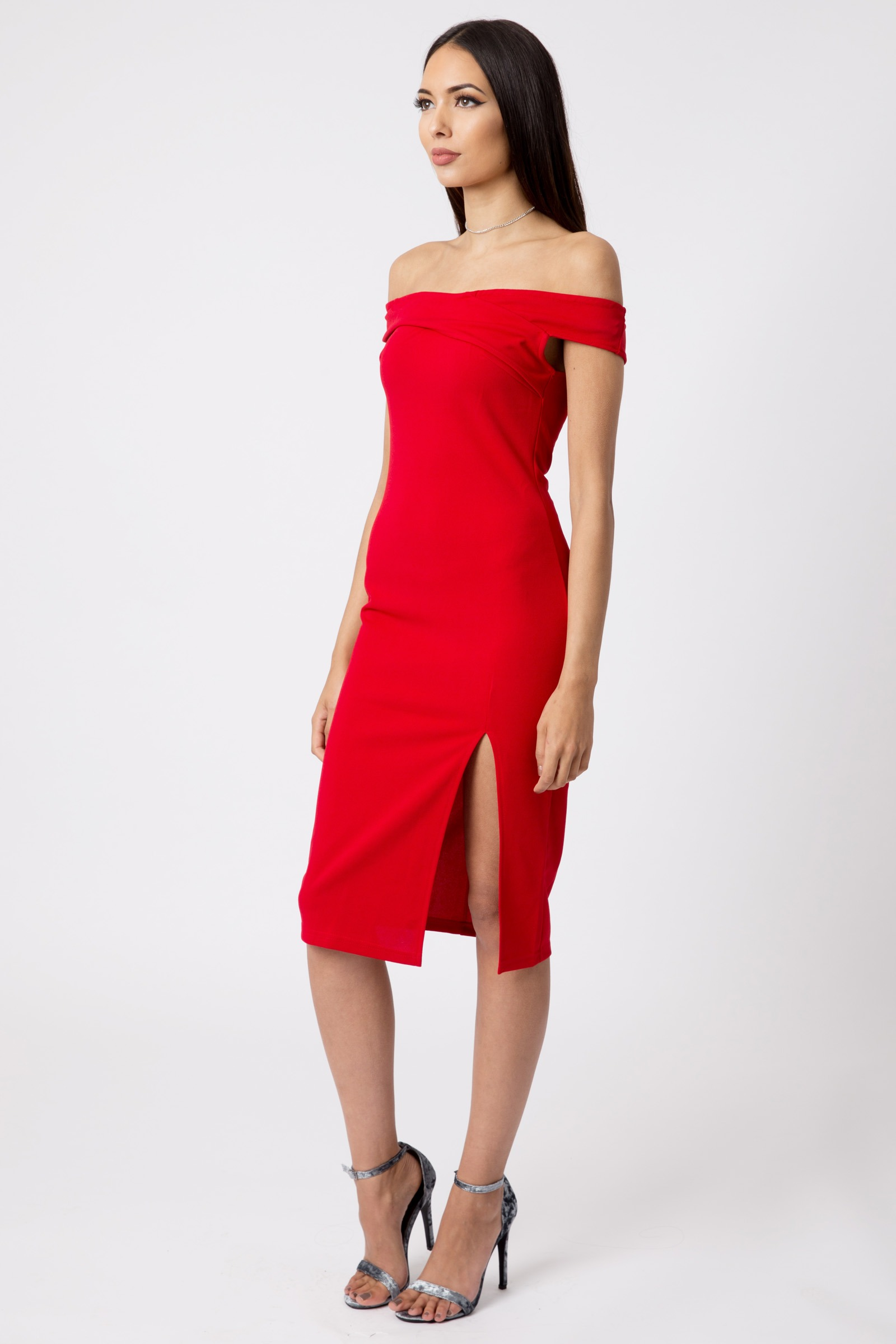 Red Off Shoulder Thigh Split Bodycon Dress | Dresses | Modamore