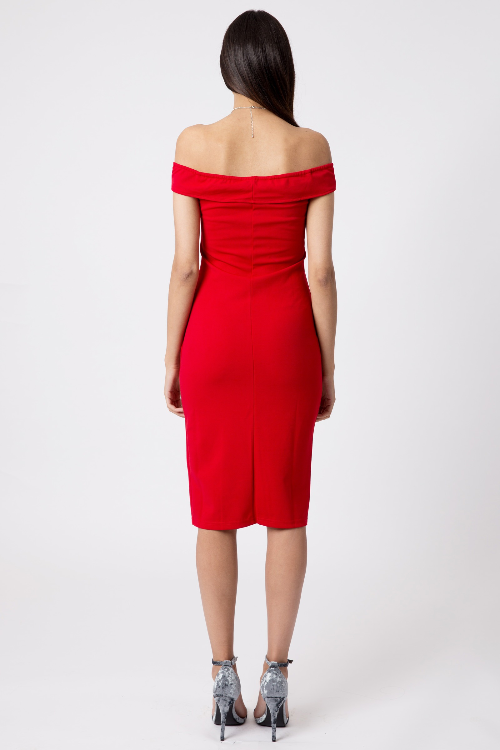 Red Off Shoulder Thigh Split Bodycon Dress Dresses