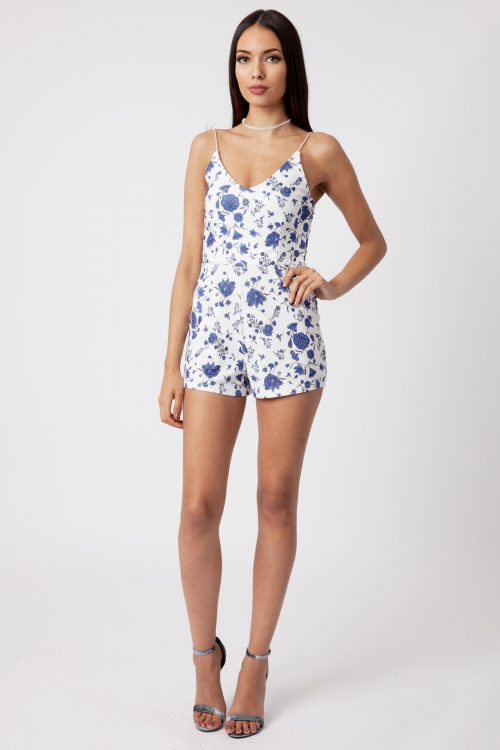 White Floral Print Strappy Playsuit
