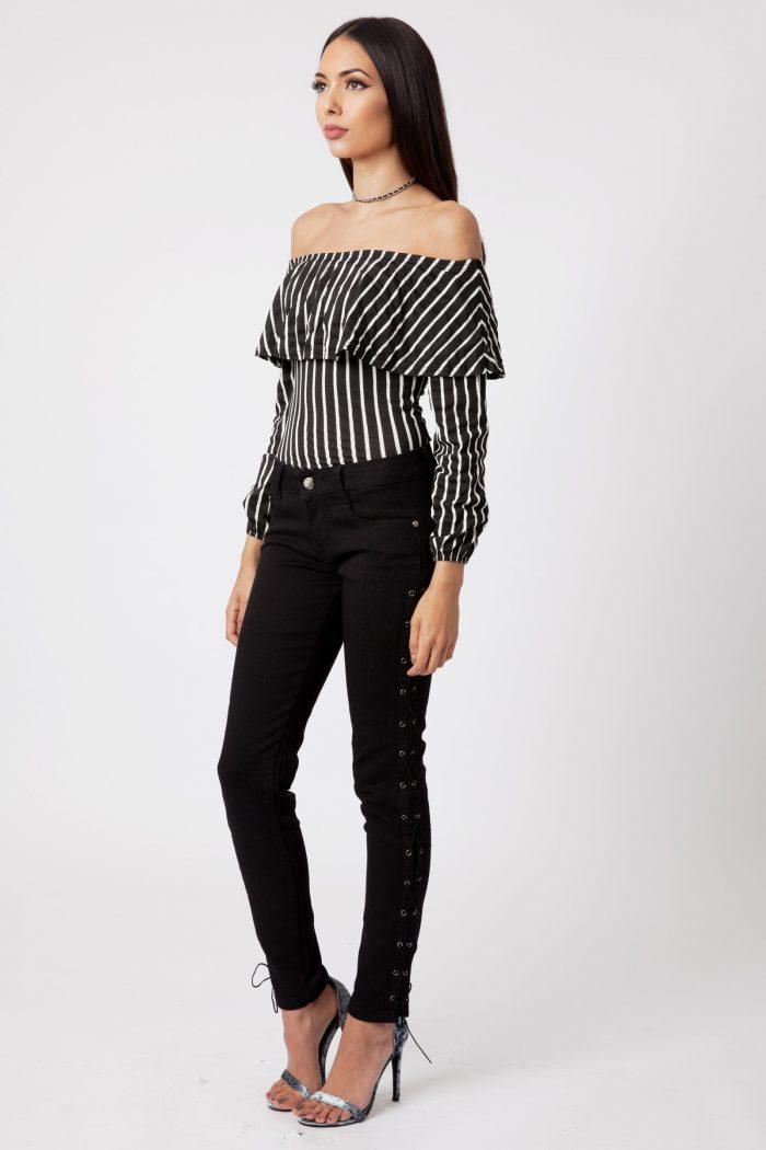 black striped bardot frill bodysuit