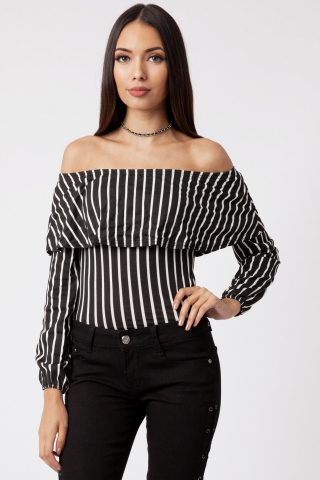 black striped bardot frill bodysuit