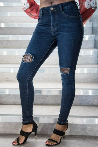 high waisted dark blue ripped fishnet jeans