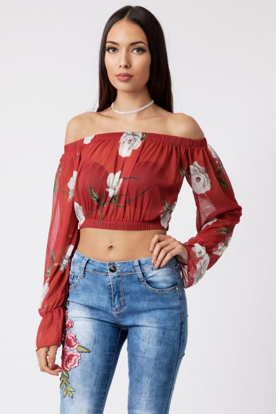 red floral print mesh bardot crop top