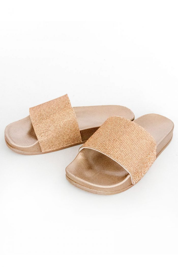 Acacia Rose Gold Diamante Sliders